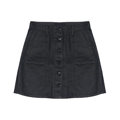 front button coating skirt black