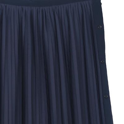 pleats detail long skirt navy