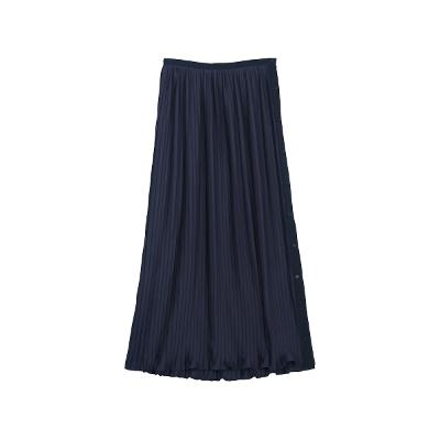 pleats detail long skirt navy