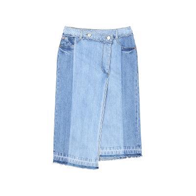 two tone detail denim skirt
