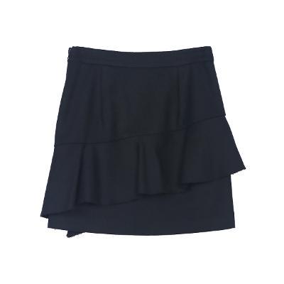 unbalance ruffle detail skirt