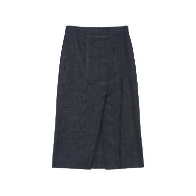 check pattern shirring wrap dress