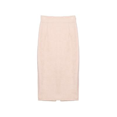 back slit high waist skirt pastel pink
