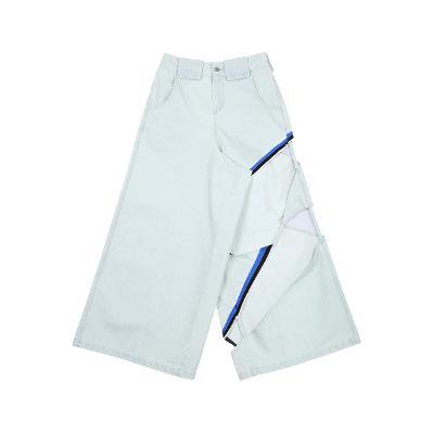 cutting detail wide denim pants