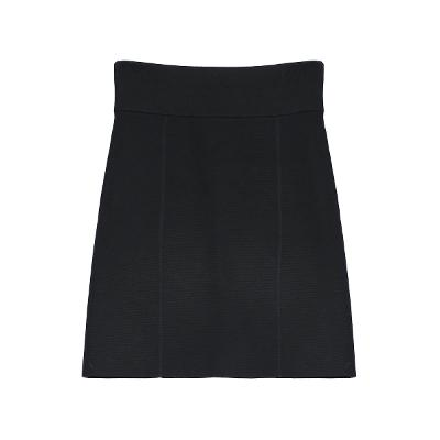 high waist knit skirt black