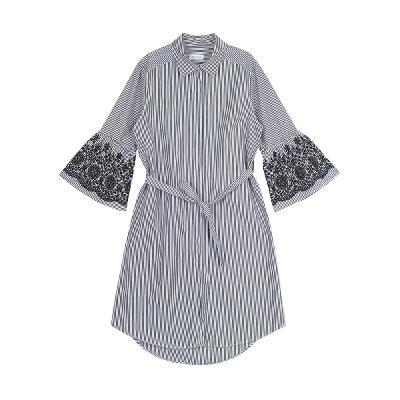 stripe embroidery dress black