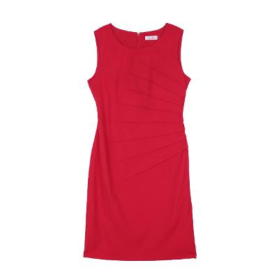 diagonal pin tuck dress red