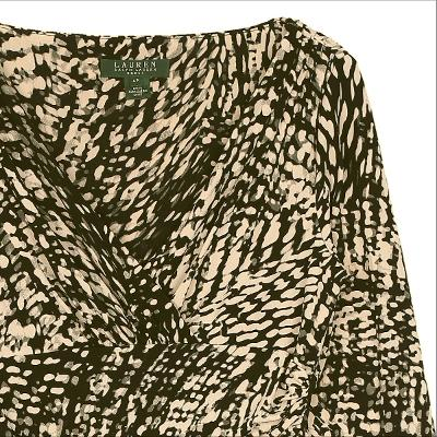 shawl neck pattern dress khaki