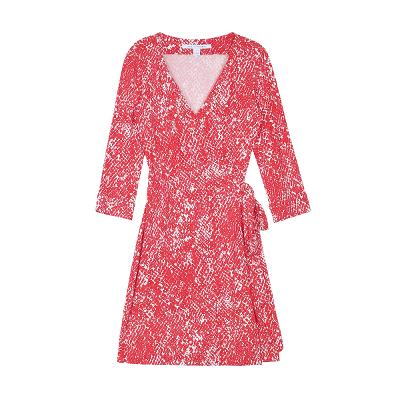 pattern wrap dress red