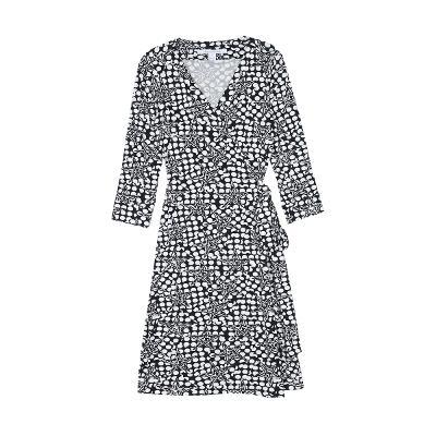 pattern wrap dress black