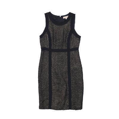 lined sleeveless dress black