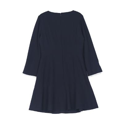 pearl button pointed dress navy