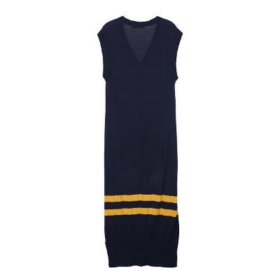 stripe point long vest dress navy