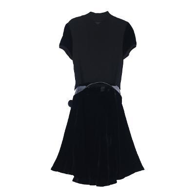 velvet ruffle dress black