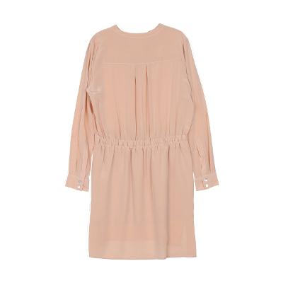 waist string shirring dress pink