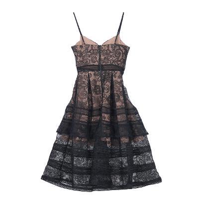 lace bustier dress black