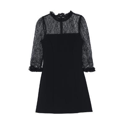 lace shoulder dress black