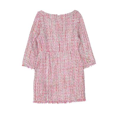 peral button tweed dress pink