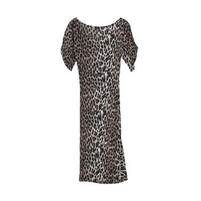 leopard tulip sleeve dress brown