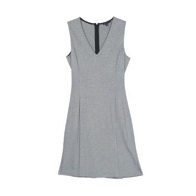 v neck sleeveless dress gray