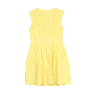 sleeveless flower pattern dress yellow