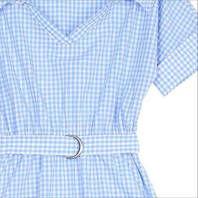 check pattern shirt dress sky blue