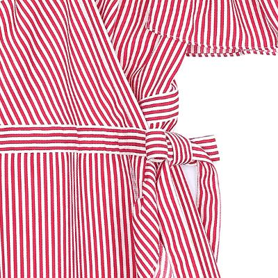 stripe off-shoulder strap dress red