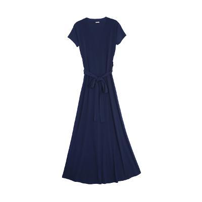 shirring unbalance dress navy