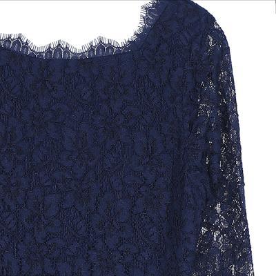 lace spuare neck dress navy
