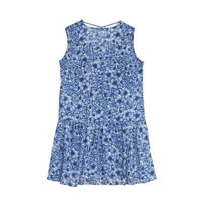floral string ribbon dress blue
