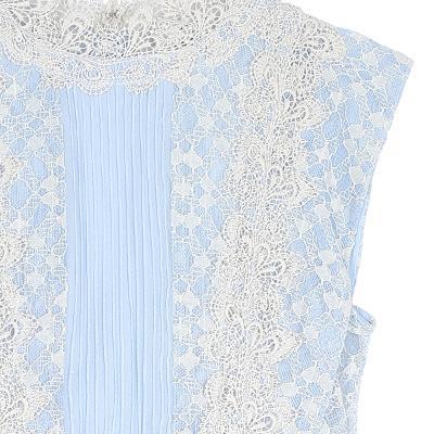 lace high neck dress skyblue