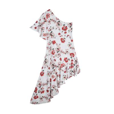 one shoulder pattern dress red