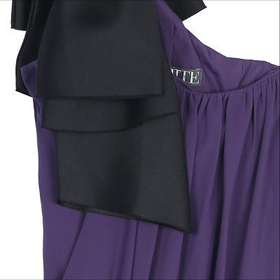 ribbon shoulder dress purple
