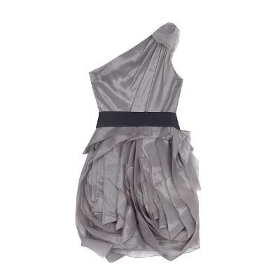 rose ruffle dress gray