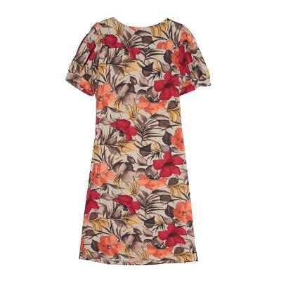 floral shirring dress red