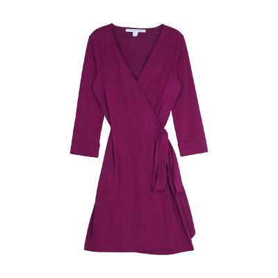 wrap ribbon dress purple