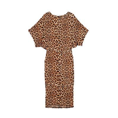 waist twist detail leopart dress