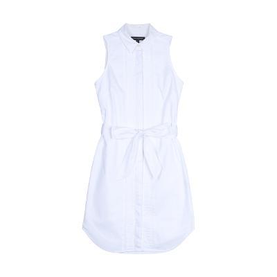 sleeveless ribbon shirt dress white