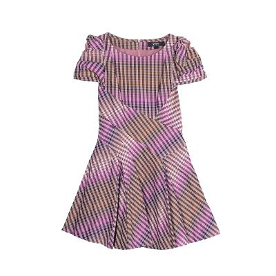 check pattern yoke dress