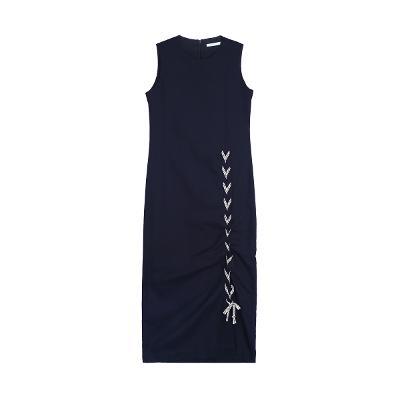 slit string detail sleeveless dress navy1