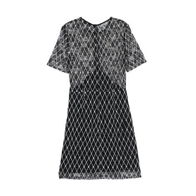 rhombus pattern dress black