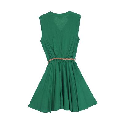 belt flare dress green