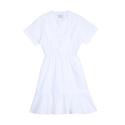 shirring detail flare dress white