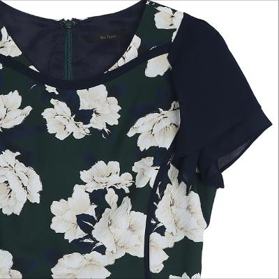 big flower pattern dress dark green