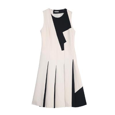 colorblock pleats dress