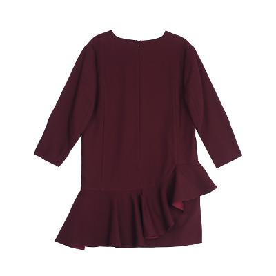 frill diagonal layered dress burgundy