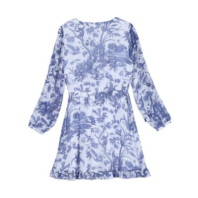 flower pattern frill dress white
