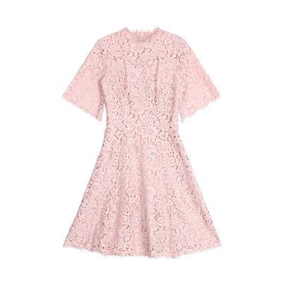 lace flare dress pink