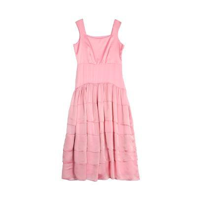 layered chiffon dress pink