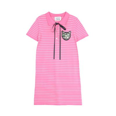 ribbon stripe shirt dress pink
